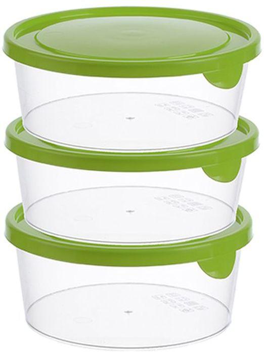 Набор контейнеров Idea, круглые, цвет: салатовый, 0,5 л, 3 шт набор контейнеров p