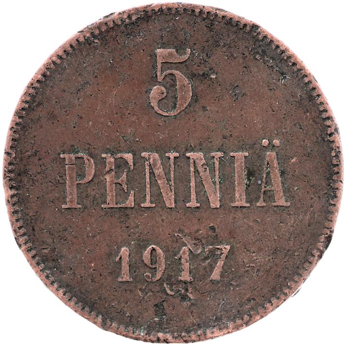 Монета номиналом 5 пенни. Сохранность VF. Россия для Финляндии (герб), 1917 год, Гельсингфорсский монетный двор