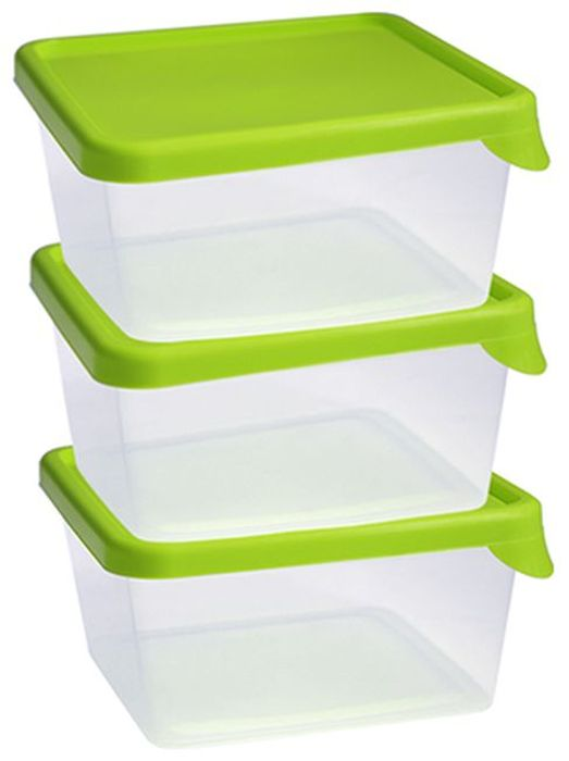 Набор контейнеров Idea, квадратные, цвет: салатовый, 0,5 л, 3 шт набор контейнеров p