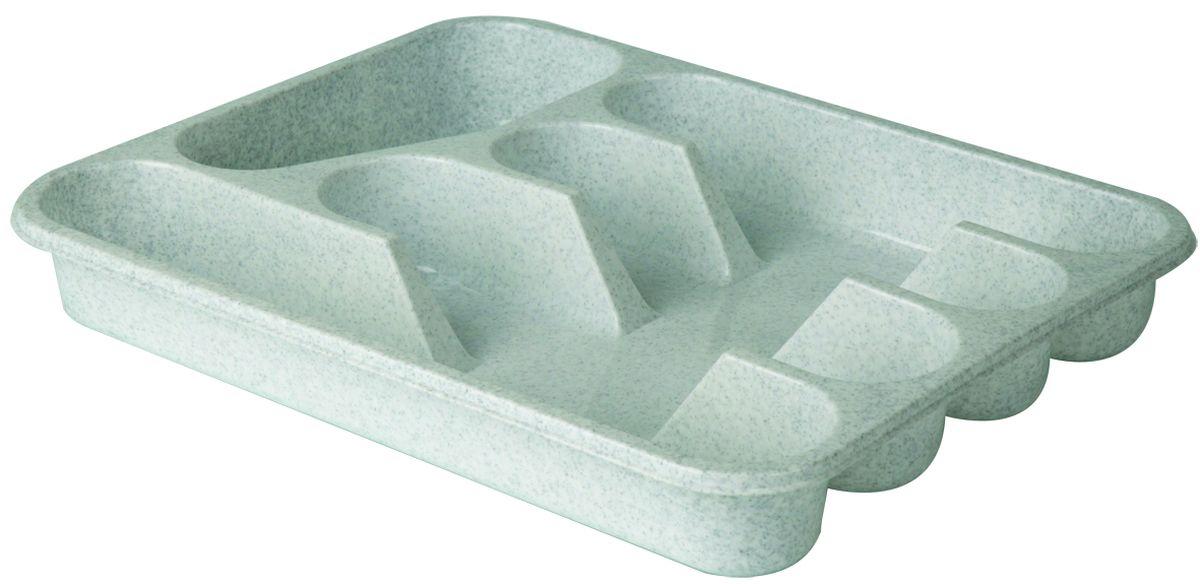 """Лоток-вкладыш для столовых приборов """"Idea"""" - изготовлен из высококачественного пищевого пластика. Он предназначен для выдвигающихся ящиков на кухне. Лоток имеет пять отделений: три отделения для вилок, ложек, ножей, одно маленькое отделение для чайных ложек и десертных вилок, одно большое отделение для остальных приборов."""