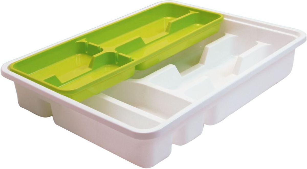 """Лоток-вкладыш для столовых приборов """"Idea"""" изготовлен из пластика. Лоток помогает поддерживать порядок на кухне, разделяя столовые приборы по своим местам.Вкладыш - это дополнительное место для хранения, которое не увеличивает ширину лотка. Столовые приборы, которые лежат в нижней части, удобно доставать, вкладыш легко сдвигается в сторону или вынимается из лотка."""