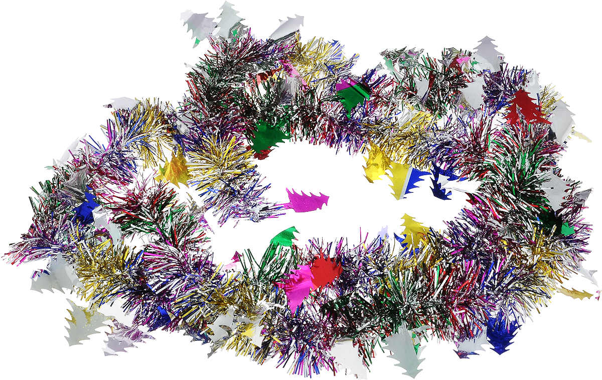 Мишура новогодняя B&H Елочки, цвет: мульти, длина 2 мBH1050_Елочки_мультиМишура новогодняя B&H Елочки, выполненная из ПВХ, поможет вам украсить свой дом к предстоящим праздникам. Новогодняя елка с таким украшением станет еще наряднее. Новогодней мишурой можно украсить все, что угодно - елку, квартиру, дачу, офис - как внутри, так и снаружи. Можно сложить новогодние поздравления, буквы и цифры, мишурой можно украсить и дополнить гирлянды, можно выделить дверные колонны, оплести дверные проемы.