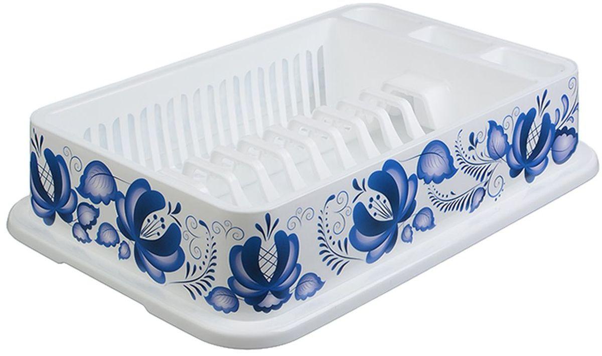 Сушилка для посуды Idea Деко. Гжель, с поддоном, 42,5 x 28,5 x 9,5 смМ 1172Сушилка Idea, выполненная из прочного пластика, представляет собой решетку с ячейками, в которые помещается посуда: тарелки, кружки, ложки, ножи. Изделие оснащено пластиковым поддоном для стекания воды. Сушилку можно установить в любом удобном месте. На ней можно разместить большое количество предметов. Вместительные размеры и оригинальный дизайн выделяют эту сушку из ряда подобных.Размер сушилки: 42,5 х 28,5 х 9,5 см.
