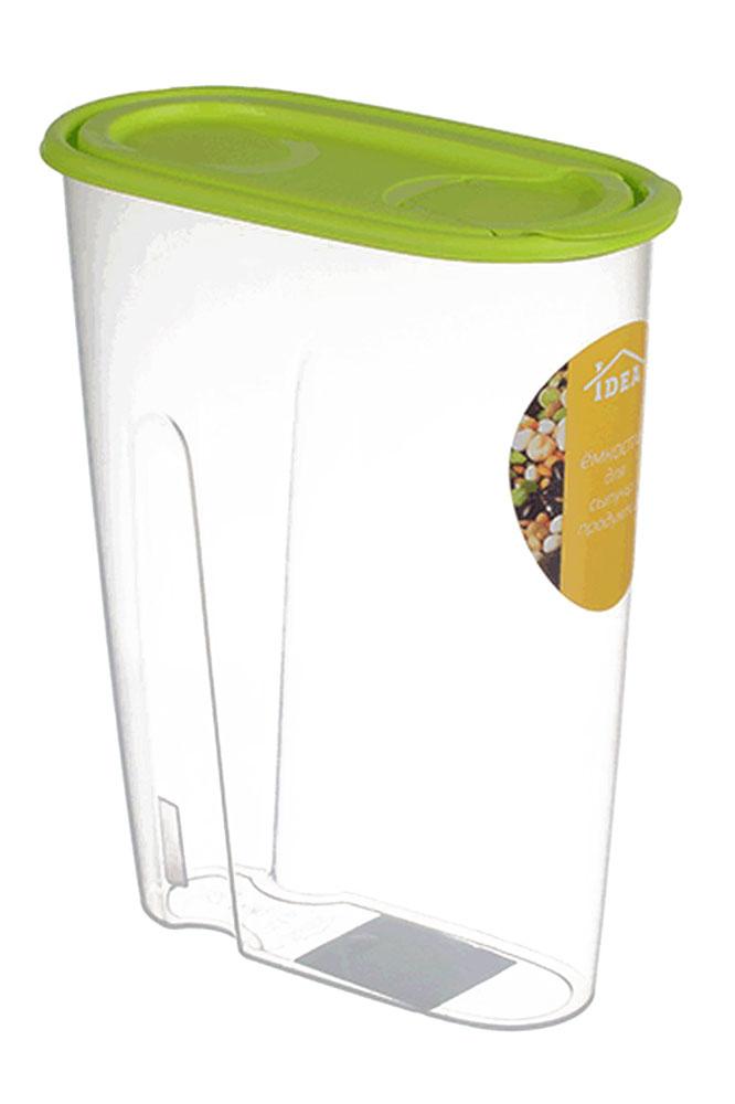 Емкость для сыпучих продуктов Idea, цвет: салатовый, прозрачный, 2,1 лМ 1222Емкость Idea выполнена из пищевого пластика и предназначена для хранения сыпучих продуктов, в том числе с ярко выраженным запахом (чай, кофе, специи). Не содержит Бисфенол A. Изделие оснащено плотно закрывающейся крышкой, благодаря которой продукты не выдыхаются и дольше остаются свежими. Овальная форма и специальные углубления помогают комфортно удерживать емкость в руке.
