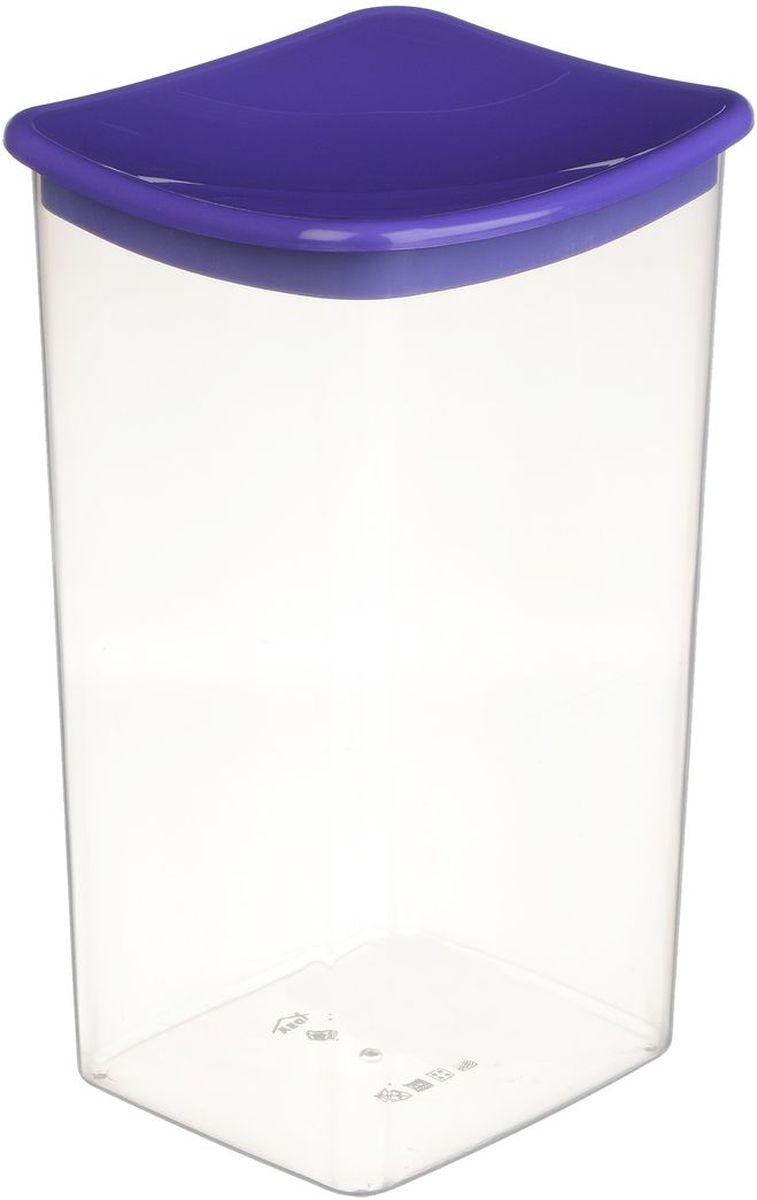 Емкость для сыпучих продуктов Idea, квадратная, цвет: фиолетовый, 1,9 л емкость для сыпучих продуктов idea деко гжель 1 л