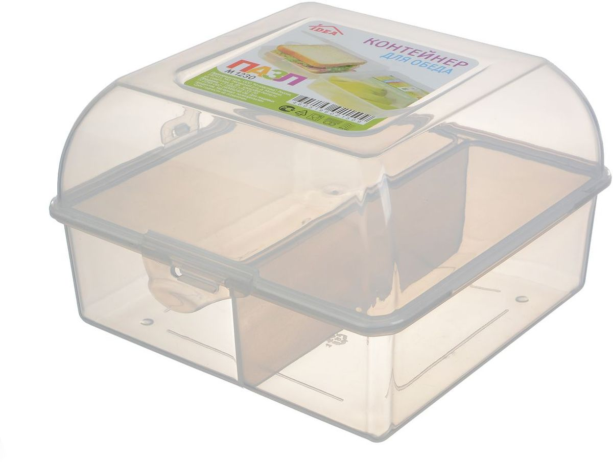 Контейнер пищевой Idea Пазл, с разделителями, цвет: прозрачныйМ 1230Пищевой контейнер Idea Пазл выполнен из прочного пищевого пластика. Изделие предназначено для хранения и транспортировки пищи. Внутри содержится одно большое отделение и две небольших секции. Контейнер плотно закрывается на защелки.Размер: 15 х 15 х 10 см.