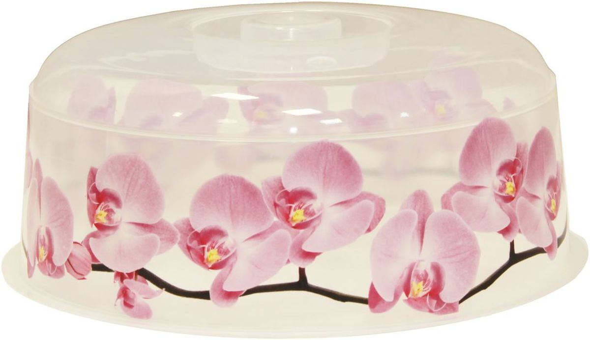 Крышка для СВЧ Idea Деко. Орхидея, диаметр 24,5 см ведро idea деко орхидея 5 л