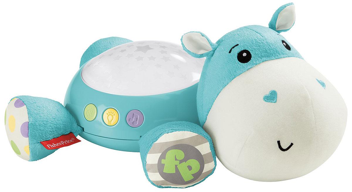 Fisher-Price Игрушка-проектор БегемотикCGN86Посадите этого забавного бегемотика на шкаф или стол, чтобы успокоить ребенка. Комната наполнится мягким светом, и ребенка ждут 30 минут музыки и звуков: колыбельные песни, белый шум и звуки природы. Малыш успокоится и заснет в считанные минуты! Поставьте бегемота на шкаф, чтобы наполнить комнату звездным светом из купола на его спинке.Проектор развивает сенсорные навыки, чувство защищенности и радости.Необходимо купить 3 батарейки напряжением 1,5V типа АА (не входят в комплект).