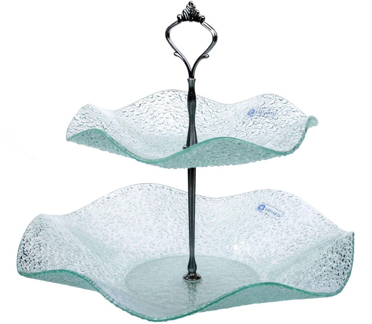 Этажерка 2-ярусная Арт Дон ХрусталикAD10-89HPПосуду в бесцветном варианте и в бронзе можно мыть в ПММ. Допускается использование в СВЧ. Рекомендуется избегать любого механического воздействия на стекло во избежание его крушения. Узорчатое стекло изготавливается методом его нагрева и проката по твердому основанию, которое имеет заданный рельеф. При остывании такого стекла получается изделие, наделенное рельефным узором. Для такой обработки подходит окрашенное в массе, осветленное или обыкновенное стекло. На выходе мы получаем безопасную посуду из моллированного (изогнутого) узорчатого стекла, которая имеет рифленую поверхность снаружи и гладкую внутри. Наличие множества граней преломляет свет, из-за чего посуда выглядит ярко, необычно, оригинально.