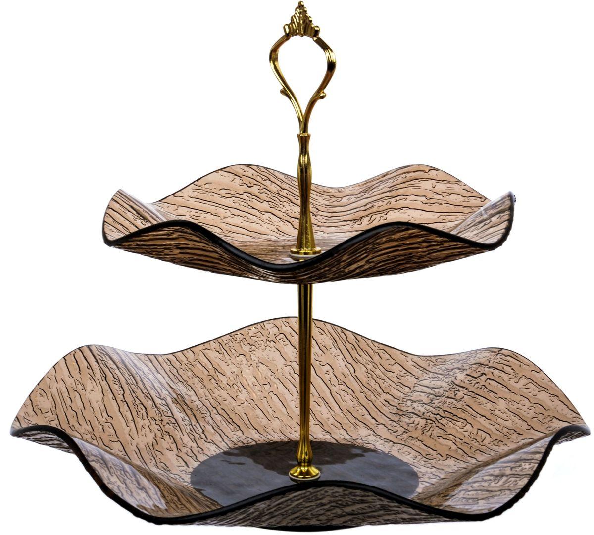 Этажерка 2-х ярусная Арт Дон ВодопадAD10-89VBПосуду в бесцветном варианте и в бронзе можно мыть в ПММ. Допускается использование в СВЧ. Рекомендуется избегать любого механического воздействия на стекло во избежание его крушения. Узорчатое стекло изготавливается методом его нагрева и проката по твердому основанию, которое имеет заданный рельеф. При остывании такого стекла получается изделие, наделенное рельефным узором. Для такой обработки подходит окрашенное в массе, осветленное или обыкновенное стекло.На выходе мы получаем безопасную посуду из моллированного (изогнутого) узорчатого стекла, которая имеет рифленую поверхность снаружи и гладкую внутри. Наличие множества граней преломляет свет, из-за чего посуда выглядит ярко, необычно, оригинально.