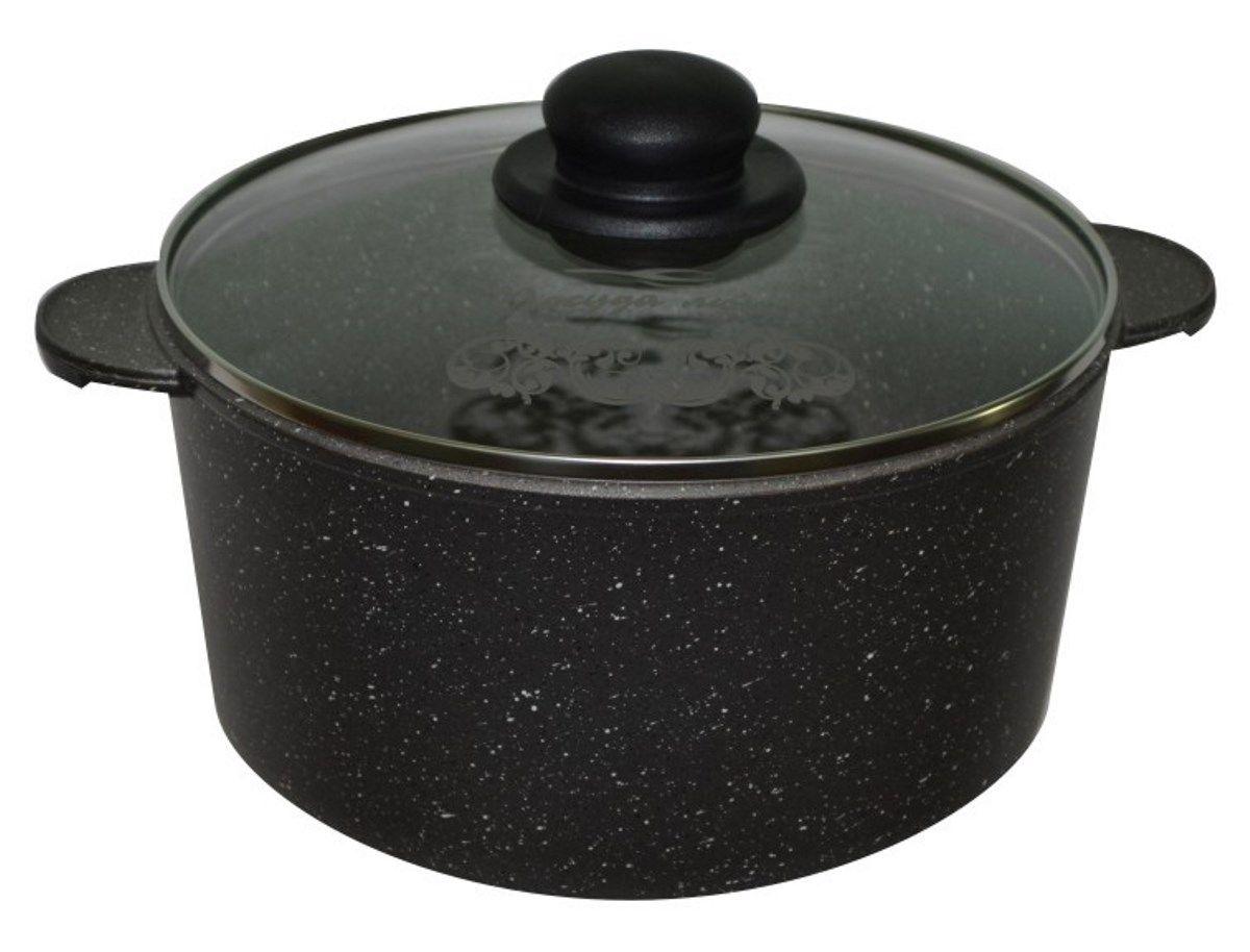 """Литая алюминиевая кастрюля Мечта """"Гранит"""" с покрытием повышенной стойкости  позволяет равномерно распределять и прекрасно удерживать тепло, экономить  электроэнергию и готовить пищу быстрее.  Значительная толщина стенок и дна исключает деформацию корпуса изделия, гарантирует  долговечность посуды. Антипригарное покрытие премиум класса Granit представляет  собой многослойную систему, упроченную кристаллами  минералов. Данные кристаллы выполняют роль армирующего звена, благодаря чему  получается мощнейшая монолитная структура, которая многократно повышает  прочностные и антипригарные свойства.  Все входящие в состав  покрытия компоненты прошли жесткую проверку в отношении влияния на здоровье  человека и окружающую среду, и поэтому оно является экологичным и абсолютно  безопасным. Покрытие разработано немецкой компанией  """"Weilburger Coatings GmbH"""" под торговой маркой Greblon.   Покрытие имеет сертификаты FDA(Управления по надзору за качеством пищевых  продуктов и медикаментов США) и BFR (Федеральный институт оценки рисков в  Германии). Качество покрытия подтверждают отличные результаты  тестирования в независимых компаниях и институтах. Наличие сертификата LGA  (Институт независимых испытаний в Германии) и наград Немецкого института  сравнительных испытаний доказывают высокое качество и безопасность.  Покрытие не содержит перфтороктановую кислоту (PFOA), разработано на водной  основе.  Антипригарное покрытие обладает высокой прочностью, пища не пригорает  и сохраняет полезные свойства.  Кастрюля оснащена  удобными ручками и стеклянной крышкой.  Подходит для газовых, электрических и стеклокерамических плит.   Можно  мыть в посудомоечной машине."""