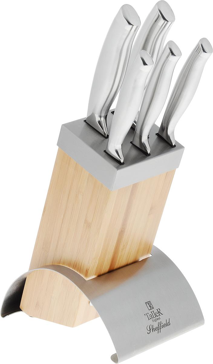 """Набор Taller """"Шеффилд"""" состоит из ножа для чистки овощей, двух универсальных ножей, ножа для тонкой нарезки, шеф-поварского ножа и подставки. Лезвия ножей выполнены из высококачественной коррозионностойкой стали 420S45. Рукоятки эргономичной формы обеспечивают надежный хват. Для компактного хранения предусмотрена подставка.  Набор кухонных ножей Taller """"Шеффилд"""" одновременно и стильный, и функциональный.  Длина лезвия ножа для чистки овощей: 8,2 см. Общая длина ножа для чистки овощей: 19,5 см. Длина лезвия универсального ножа (2 шт): 12,5 см. Общая длина универсального ножа: 23,5 см. Длина лезвия ножа для нарезки: 19,5 см. Общая длина ножа для тонкой нарезки: 33 см. Длина лезвия шеф-поварского ножа: 20 см. Общая длина шеф-поварского ножа: 33 см. Размер подставки: 18 х 11,7 х 24 см."""