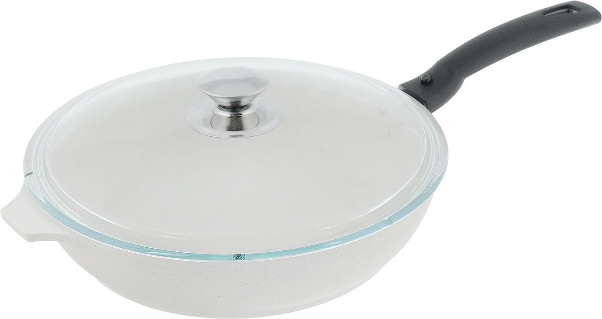 """Сковорода Kukmara """"Традиция"""" изготовлена из литого алюминия с экологически безопасным антипригарным покрытием. Особенности сковороды """"Kukmara"""": - значительная толщина стенок и дна исключает деформацию корпуса сковороды, гарантирует ее долговечность, обеспечивает необходимую прочность покрытия; - высокопрочное антипригарное покрытие; - идеальное распределение тепла по всей поверхности посуды, длительное сохранение тепла; - возможность использования минимального количества жира; - ненагревающаяся съемная ручка из бакелита; - стеклянная крышка позволяет следить за процессом приготовления пищи; - антипригарное покрытие наносится методом напыления, который гарантирует исключительную стойкость покрытия при эксплуатации; - мелкие царапины и небольшие потертости на поверхности сковороды не влияют на свойства антипригарного покрытия и долговечность посуды; - продукты не пригорают и сохраняют свой вкус. Сковорода """"Kukmara"""" позволит превратить обыкновенный процесс приготовления пищи в приятное и легкое занятие для любой хозяйки. Диаметр сковороды (по верхнему краю): 26 см. Высота стенки: 6 см. Длина ручки: 16 см."""