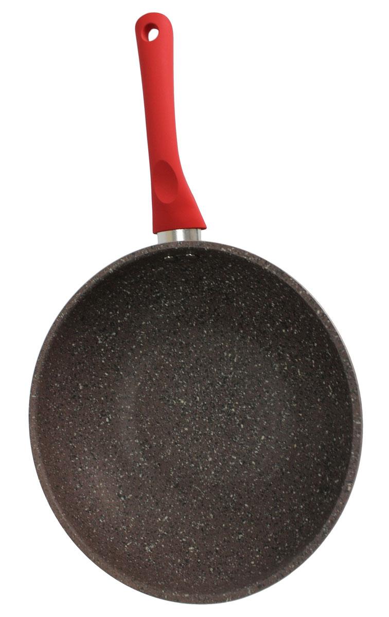 Сотейник Satoshi Вива, с антипригарным покрытием. Диаметр 26 см846344Сотейник Satoshi Вива изготовлен из высококачественного алюминия с износостойким антипригарным покрытием. Такое покрытие предотвращает пригорание пищи и ее прилипание к стенкам. Оно абсолютно безопасно для здоровья и не выделяет вредных веществ во время готовки.Сотейник оснащен эргономичной ручкой с покрытием soft-touch, которая не нагревается в процессе приготовления пищи и не дает вашим рукам обжечься. Посуда подходит для индукционных, газовых, электрических и стеклокерамических плит. Можно мыть в посудомоечной машине.