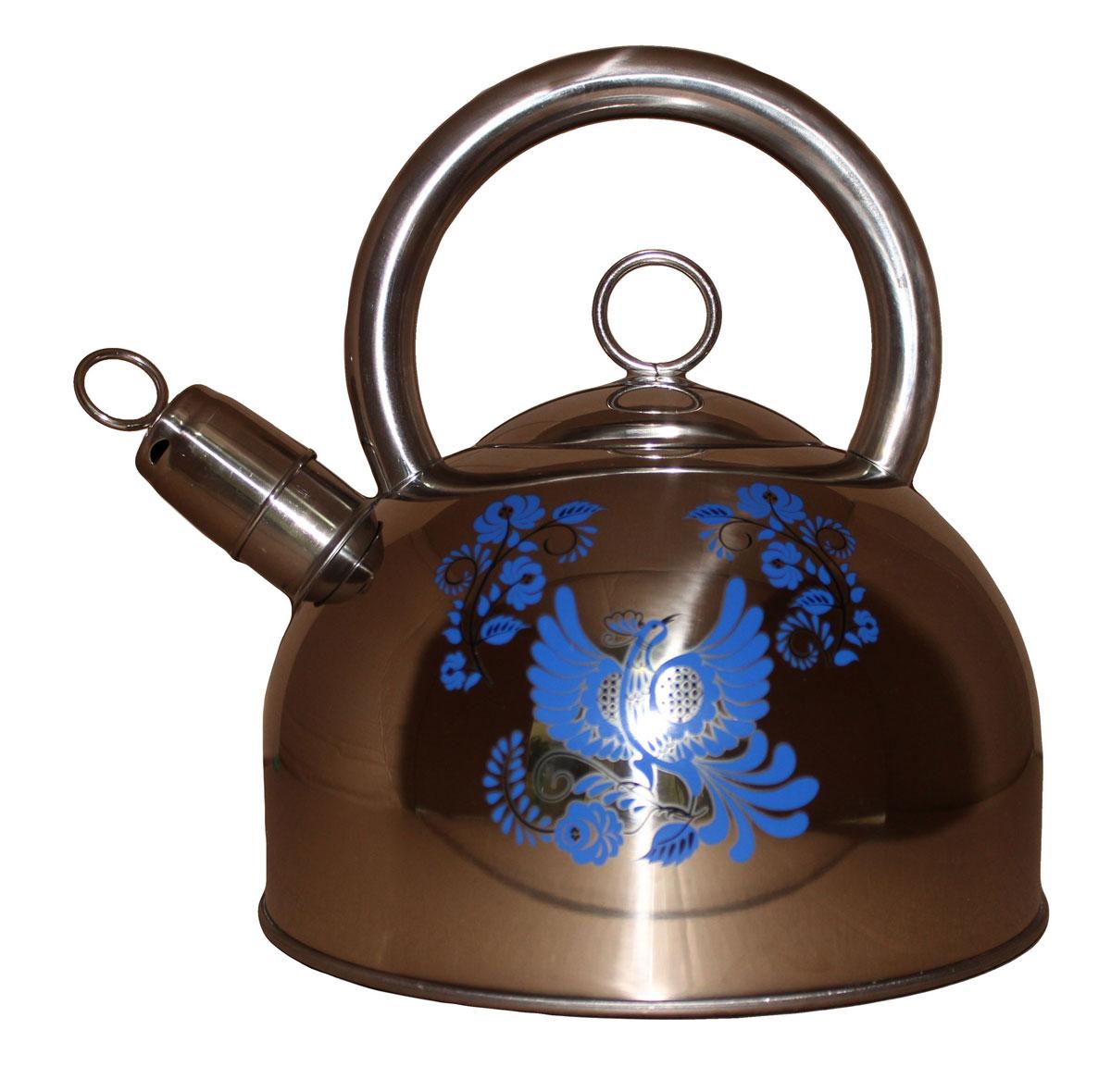 Чайник Vetta Гжель, 2,5 л847051Чайник Vetta Гжель изготовлен из нержавеющей стали. Имеет свисток, который сообщит о закипании воды. Отлично подходит для индукционных варочных поверхностей.