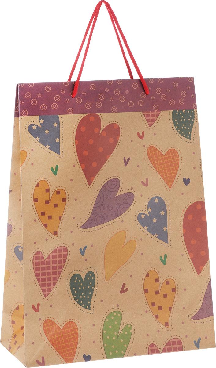 Пакет подарочный Феникс-Презент Сердечки, 24 х 8 х 33 см43734Подарочный пакет Феникс-Презент Сердечки, изготовленный из плотной крафт-бумаги с рисунками сердечек, станет незаменимым дополнением к выбранному подарку. Дно изделия укреплено картоном, который позволяет сохранить форму пакета и исключает возможность деформации дна под тяжестью подарка. Для удобной переноски имеются две текстильные ручки в виде шнурков.Подарок, преподнесенный в оригинальной упаковке, всегда будет самым эффектным и запоминающимся. Окружите близких людей вниманием и заботой, вручив презент в нарядном, праздничном оформлении.