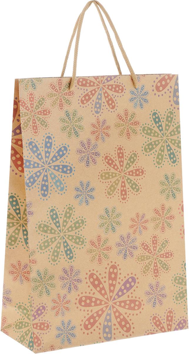 """Подарочный пакет Феникс-Презент """"Цветы в горошек"""",  изготовленный из плотной крафт-бумаги, станет  незаменимым дополнением к выбранному подарку. Дно  изделия укреплено картоном, который позволяет  сохранить форму пакета и исключает возможность  деформации дна под тяжестью подарка. Пакет украшен  оригинальным цветочным рисунком. Для удобной  переноски имеются две текстильные ручки в виде  шнурков. Подарок, преподнесенный в оригинальной упаковке,  всегда будет самым эффектным и запоминающимся.  Окружите близких людей вниманием и заботой, вручив  презент в нарядном, праздничном оформлении."""