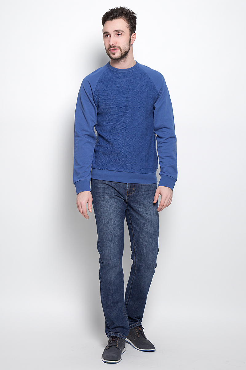 все цены на  Свитшот мужской Sela Casual Wear, цвет: синий. St-213/826-7120. Размер S (46)  онлайн