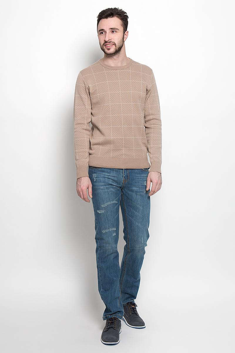 Джемпер мужской Sela, цвет: темно-бежевый. JR-214/1012-7121. Размер L (50)