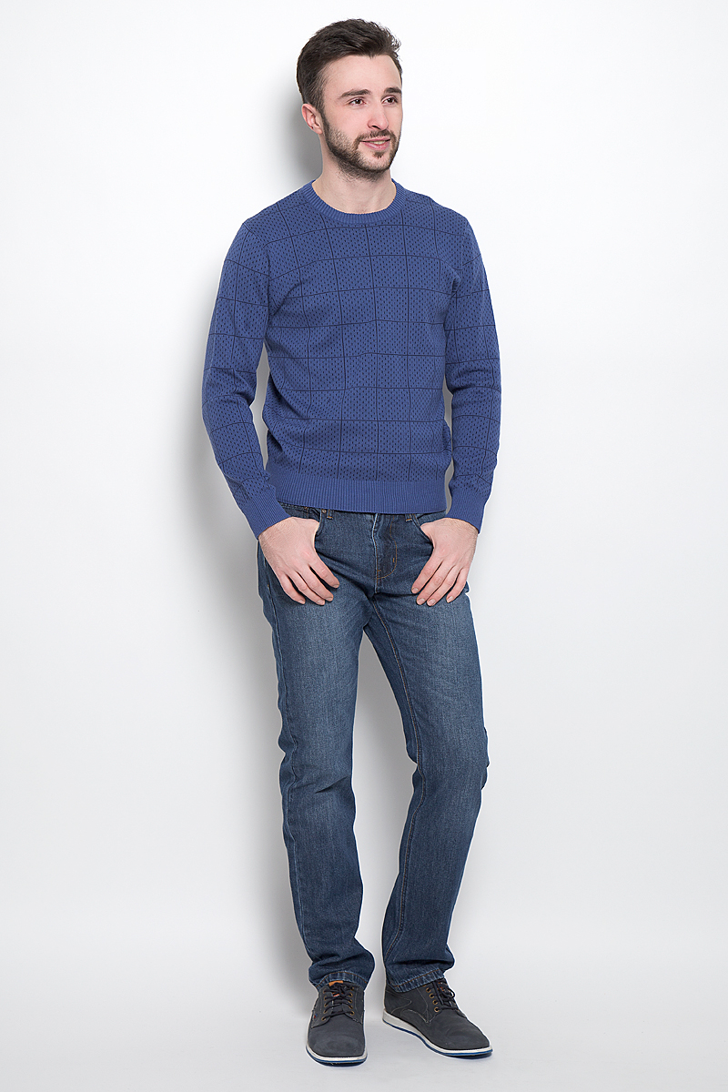 Джемпер мужской Sela, цвет: темно-синий. JR-214/1012-7121. Размер L (50)JR-214/1012-7121Стильный мужской джемпер выполнен из натурального хлопка. Модель с круглым вырезом горловины и длинными рукавами.