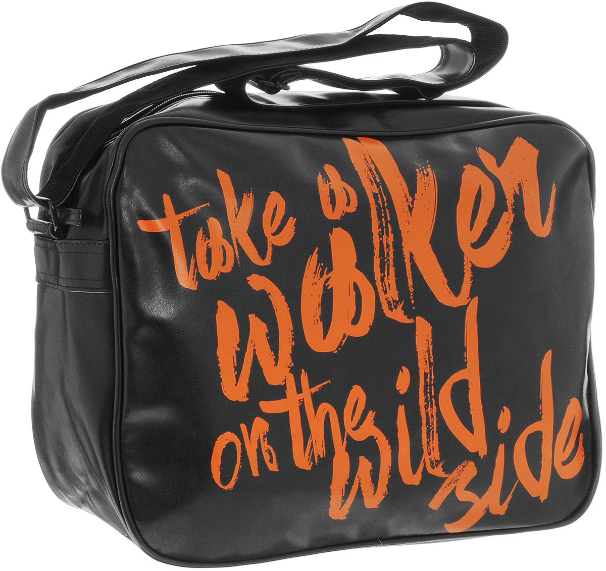 Walker Сумка школьная Fun Take a Walker42414/55Школьная сумка Walker Fun Take a Walker выполнена из прочного износостойкого полиуретана черного цвета с яркими надписями. Сумка состоит из одного отделения, которое закрывается на застежку-молнию. Внутри отделения расположены два открытых накладных кармашка. Задняя сторона сумки дополнена врезным карманом на молнии. Сумка имеет одну широкую лямку для переноски на плече. Лямка легко регулируется по длине. Прочная и вместительная сумка Fun Take a Walker смотрится элегантно в любой ситуации. Идеальный выбор для школы, университета или досуга.