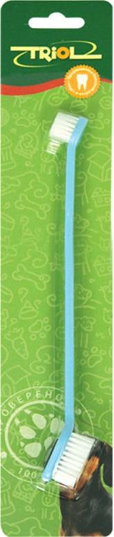 Зубная щетка для собак Triol, двойная, цвет: голубой, 21 смМт-11000Двусторонняя зубная щетка для собак Triol, изготовленная из высококачественного пластика и нейлона, подойдет для ухода за ротовой полостью крупных и мелких пород. Щетка имеет две разные по размеру чистящие головки. Зубная щетка имеет мягкую щетину, которая бережно очищает поверхность зубов, промежутки между зубами и массирует десны.Длина щетки 21 см