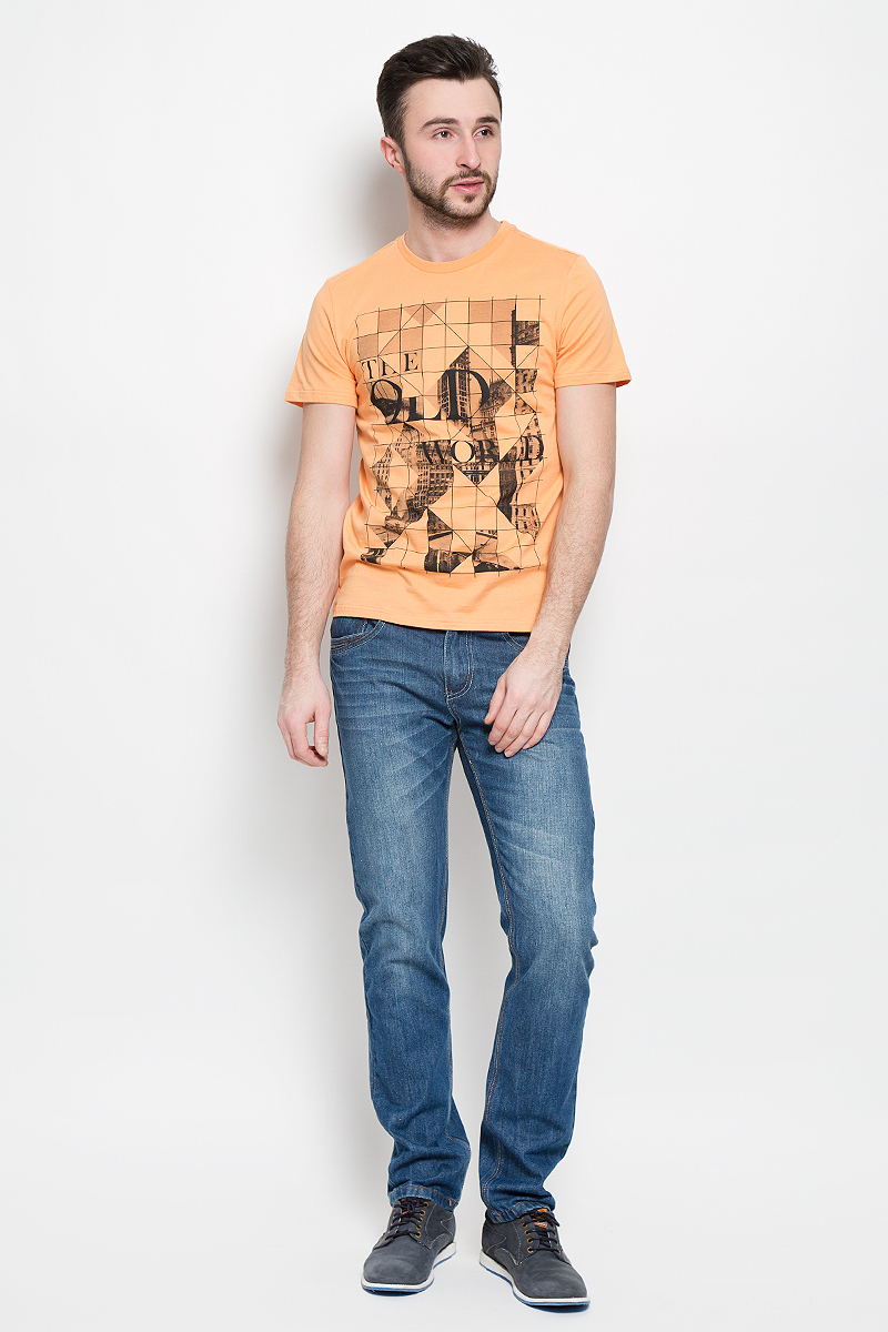 Футболка мужская Sela Casual Wear, цвет: желто-оранжевый. Ts-211/2040-7111. Размер S (46)Ts-211/2040-7111Стильная мужская футболка Sela Casual Wear выполнена из натурального хлопка. Модель с круглым вырезом горловины и короткими рукавами.