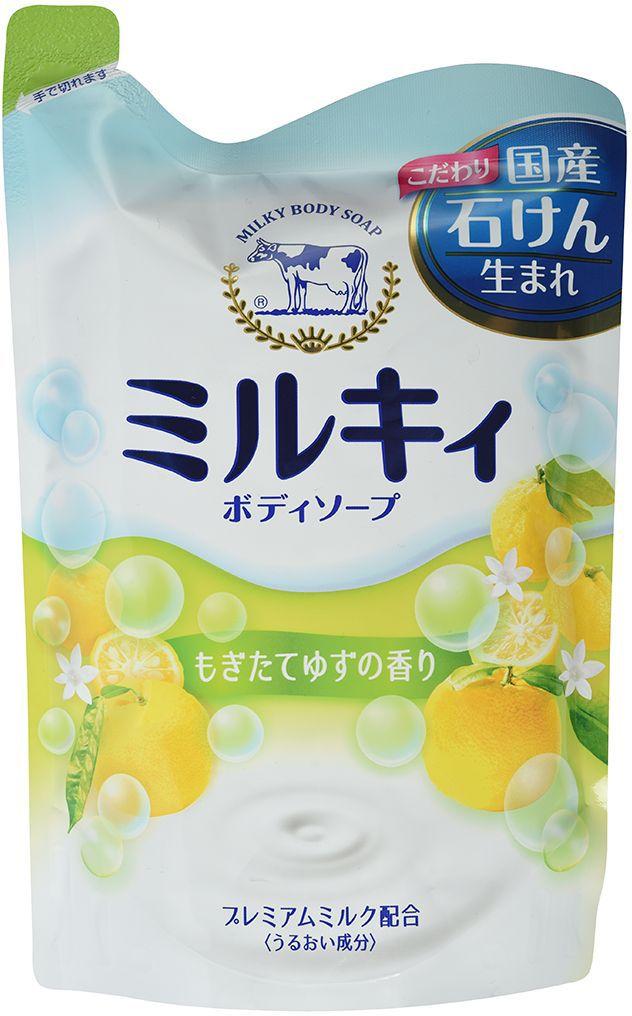 Cow Молочное мыло для тела Milky Body Soap, с аминокислотами шелка и ароматом свежести, 400 мл (сменная упаковка) cow milky body soap bouncia мыло для тела увлажняющее со сливками и коллагеном 430 мл