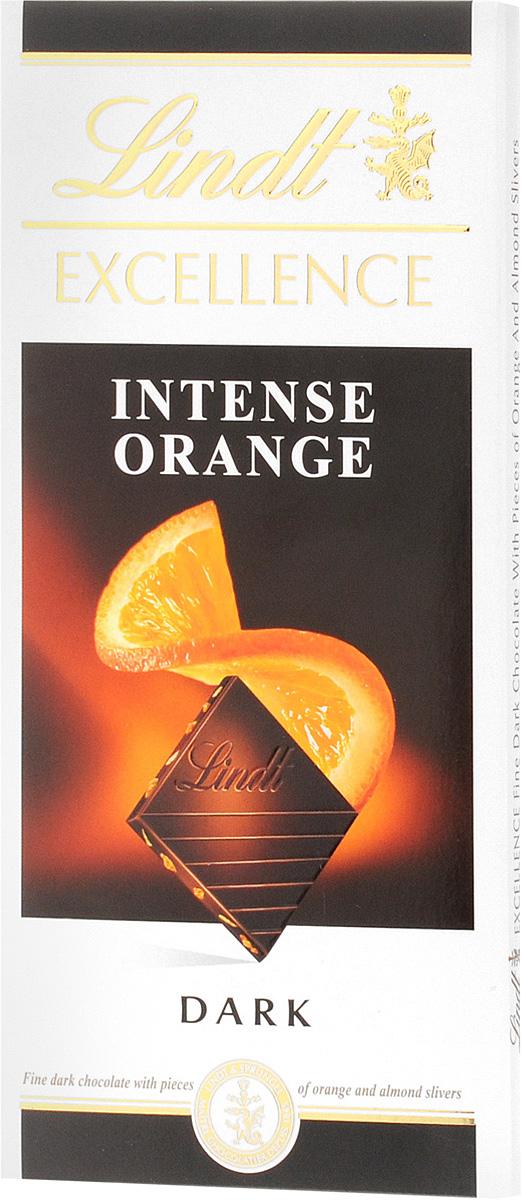 Lindt Excellence темный шоколад с кусочками апельсина и миндаля, 100 г lindor конфеты lindor lindt из молочного шоколада 125г