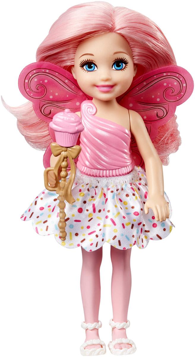 Barbie Мини-кукла Маленькая фея Челси цвет платья розовый белый