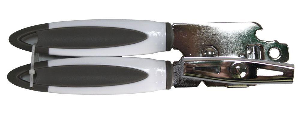 """Консервный нож """"Vetta из нержавеющей стали поможет без труда открыть консервную банку даже самой хрупкой хозяйке. Достаточно воткнуть нож в крышку и вращать специальный элемент."""
