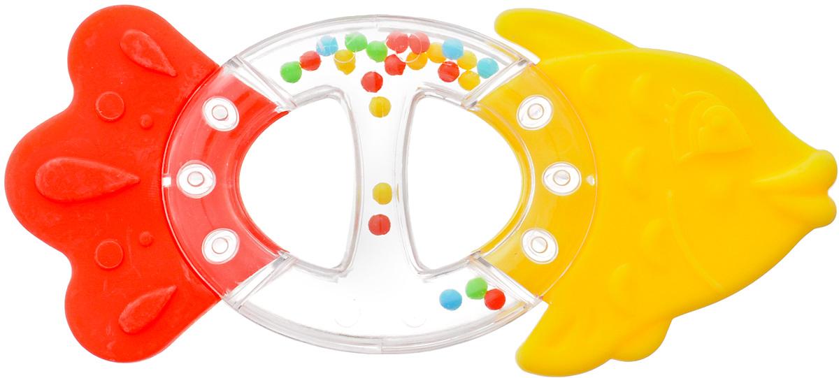 Stellar Погремушка-прорезыватель Рыбка цвет красный желтый развивающая игрушка stellar веселый молоточек цвет малиновый розовый желтый