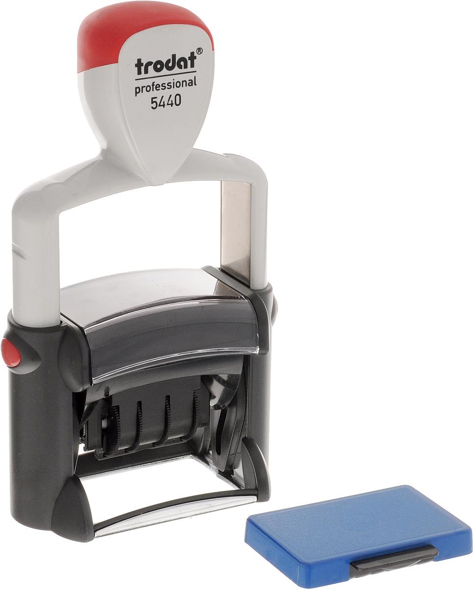 Trodat Датер со свободным полем 47 х 26 мм5440Датер Trodat имеет прочный пластиковый корпус с автоматическим окрашиванием.Дата находится в центре, вокруг даты свободное поле под изготовление клише. Подходит для работы в бухгалтерии, на складе, в банке. Размер свободного поля - 47 мм х 26 мм. В комплект входит сменная подушка, цвет синий.