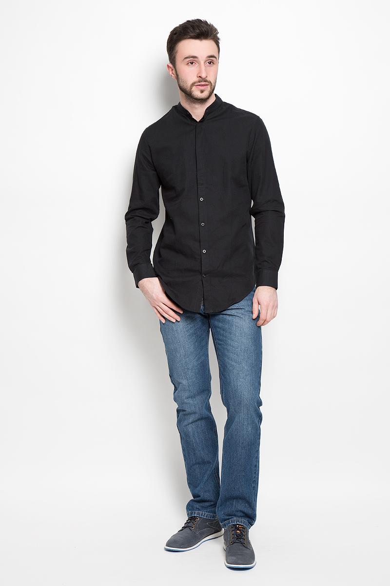 Рубашка мужская Selected Homme, цвет: черный. 16052244. Размер L (48) пуловер мужской selected homme identity цвет бордовый 16051696 размер l 48