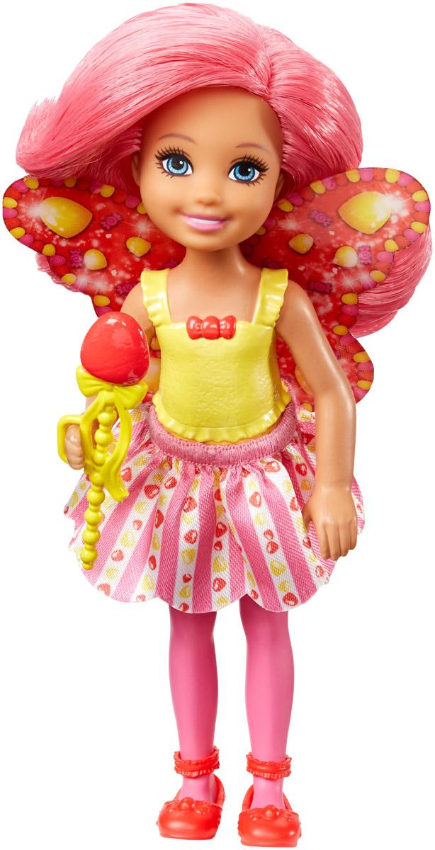 Barbie Мини-кукла Маленькая фея Челси цвет платья желтый розовый