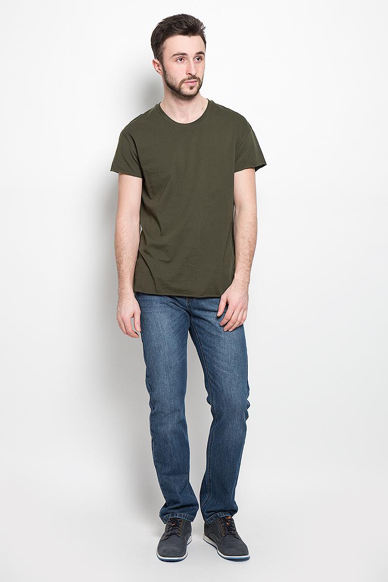 Футболка мужская Selected Homme, цвет: темно-зеленый. 16049961. Размер L (48) пуловер мужской selected homme identity цвет бордовый 16051696 размер l 48