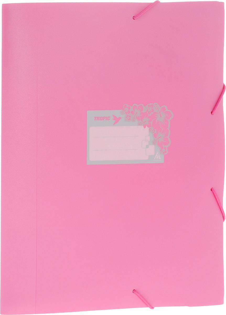 Бюрократ Папка-короб на резинке Tropic формат А4+ цвет розовый816252__розовыйПапка-короб на резинке Tropic - это удобный и функциональный офисный инструмент, предназначенный для хранения и транспортировки большого объема рабочих бумаг и документов формата А4+. На лицевой стороне папки имеется место для ФИО владельца, оформленное рисунком с тропическими цветами. Папка изготовлена из жесткого, но гибкого фактурного пластика и закрывается при помощи угловых резинок. Резинки не позволят папке раскрыться в неподходящий момент. Папка надежно сохранит ваши документы и сбережет их от повреждений, пыли и влаги.