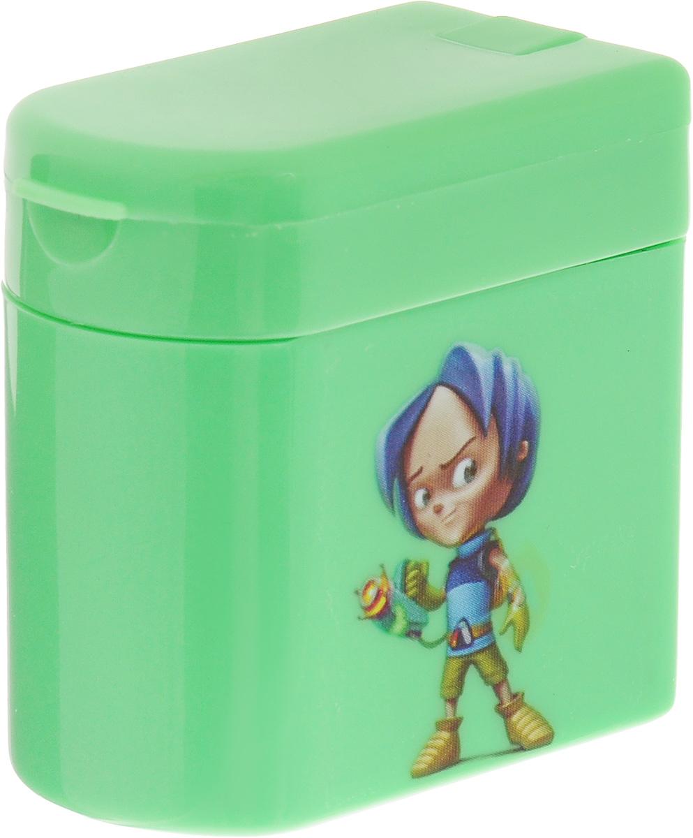 Adel Точилка для карандашей Adeland цвет зеленый426-0607-100_зеленыйТочилка для карандашей Adeland хорошо точит цветные и простые карандаши. Она пригодится любому студенту или школьнику. Точилка оснащена двумя отверстиями разного диаметра и не повреждает поверхность карандаша при заточке. Точилка выполнена в виде яркой коробочки с изображением героев мультфильма Adeland. Крышка коробочки открывается, емкость под стружку легко отделяется от корпуса.
