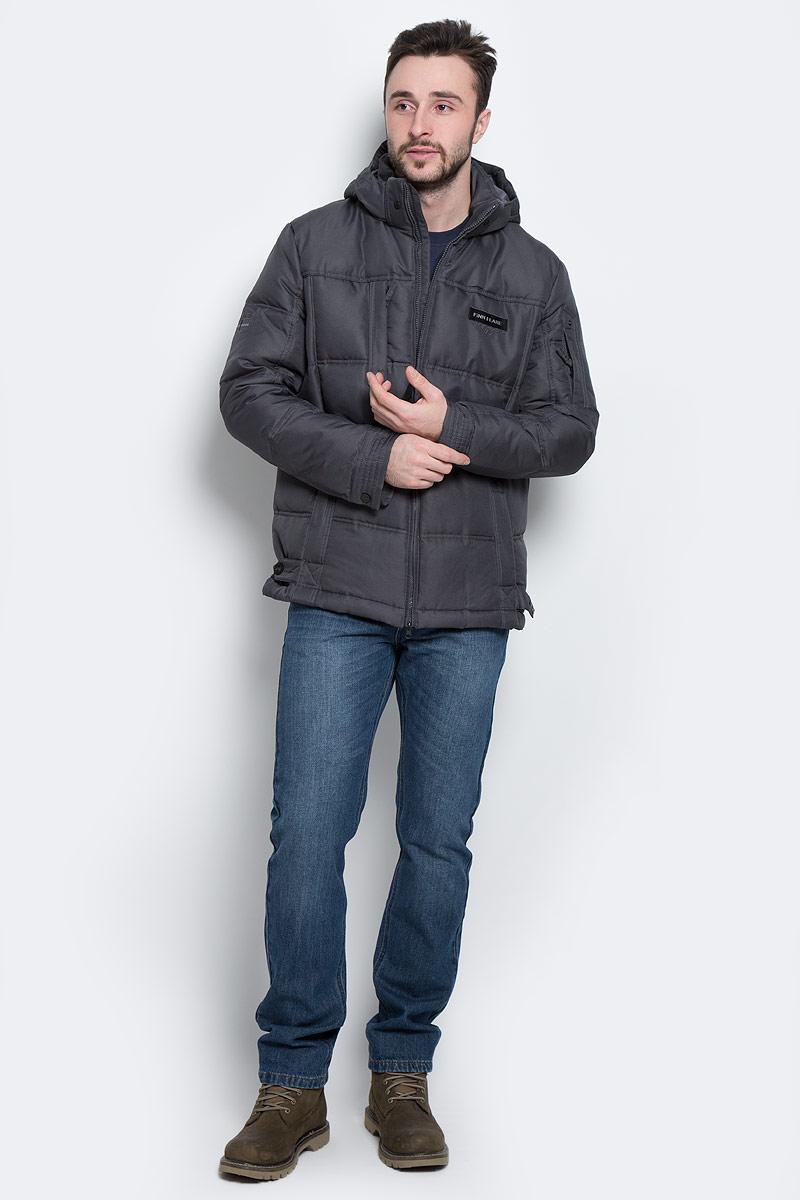 Пуховик мужской Finn Flare, цвет: темно-серый. W16-22007_202. Размер L (50)W16-22007_202Стильный мужской пуховик Finn Flare, выполненный из высококачественного полиэстера, обеспечит максимальный комфорт при различных погодных условиях. Изделие с воротником-стойкой и съемным капюшоном застегивается на застежку-молнию. Капюшон, регулируемый эластичным шнурком со стопперами, пристегивается к пуховику с помощью металлических кнопок и на макушке имеет регулируемый хлястик. Рукава оснащены манжетами с застежками-кнопками. Спереди модель дополнена тремя прорезными карманами на молниях, на рукаве - прорезным карманом на застежке-молнии, с внутренней стороны - прорезным карманом на застежке-молнии, накладным карманом на липучке и прорезным карманом на пуговице. С внутренней стороны низ изделия регулируется с помощью эластичного шнурка со стопперами, спереди - хлястиком с кнопками.
