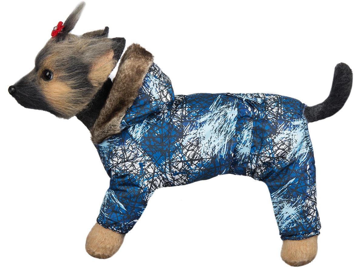 Комбинезон для собак Dogmoda Winter, зимний, для мальчика, цвет: синий, белый. Размер 3 (L)DM-150336-3Зимний комбинезон для собак Dogmoda Winter отлично подойдет для прогулок в зимнее время года.Комбинезон изготовлен из полиэстера, защищающего от ветра и снега, с утеплителем из синтепона, который сохранит тепло даже в сильные морозы, а на подкладке используется искусственный мех, который обеспечивает отличный воздухообмен. Комбинезон с капюшоном застегивается на кнопки, благодаря чему его легко надевать и снимать. Капюшон украшен искусственным мехом и не отстегивается. Низ рукавов и брючин оснащен внутренними резинками, которые мягко обхватывают лапки, не позволяя просачиваться холодному воздуху. На пояснице комбинезон затягивается на шнурок-кулиску.Благодаря такому комбинезону простуда не грозит вашему питомцу.