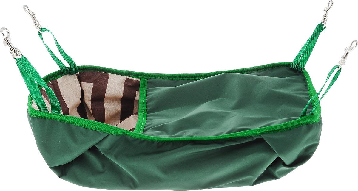 Гамак-кроватка для шиншилл и хорьков  ЗооМарк , подвесной, цвет: зеленый. Д-12З - Лежаки, домики, спальные места
