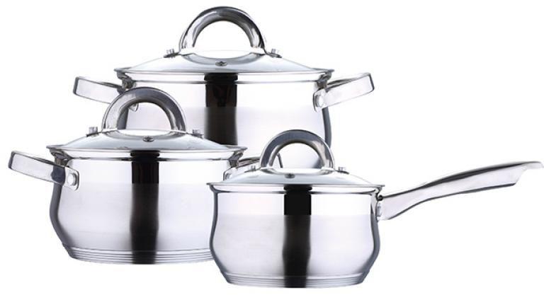 Набор посуды Wellberg, 6 предметов. 1422 WB1422 WBНабор посуды Wellberg состоит из двух кастрюль разного объема с крышками и ковша с крышкой. Изделия выполнены из нержавеющей стали с комбинированной матовой и зеркальной полировкой. Посуда имеет энергосберегающее 5 капсульное алюминиевое дно, быстро и равномерно распределяющее тепло. Стеклянные крышки имеют пароотводы и снабжены удобными ручками. Набор посуды Wellberg подходит для использования на всех типах плит, включая индукционные. Можно мыть в посудомоечной машине. Объем кастрюль: 2,4 л; 3,4 л.Диаметр кастрюль (по верхнему краю): 18 см; 20 см.Высота стенки кастрюль: 10,5 см; 11,5 см.Объем ковша: 1,7 л.Диаметр ковша (по верхнему краю): 16 см.Высота стенки ковша: 9,5 см.