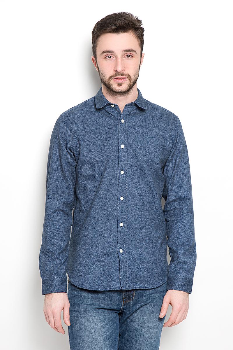 Рубашка мужская Selected Homme, цвет: темно-синий. 16053232. Размер XXL (52) футболка мужская selected