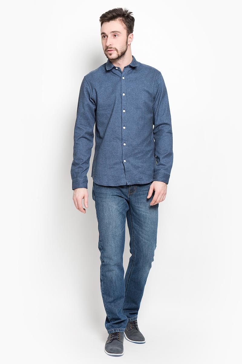 Рубашка мужская Selected Homme, цвет: темно-синий. 16053232. Размер XXL (52) водолазка мужская selected homme цвет серый 16053105 размер xl 50