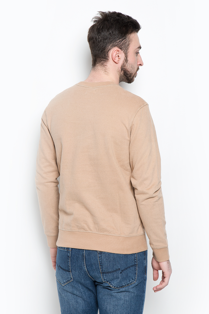 Свитшот мужской Selected Homme Indigo, цвет: темно-бежевый. 16053566. Размер XL (50)
