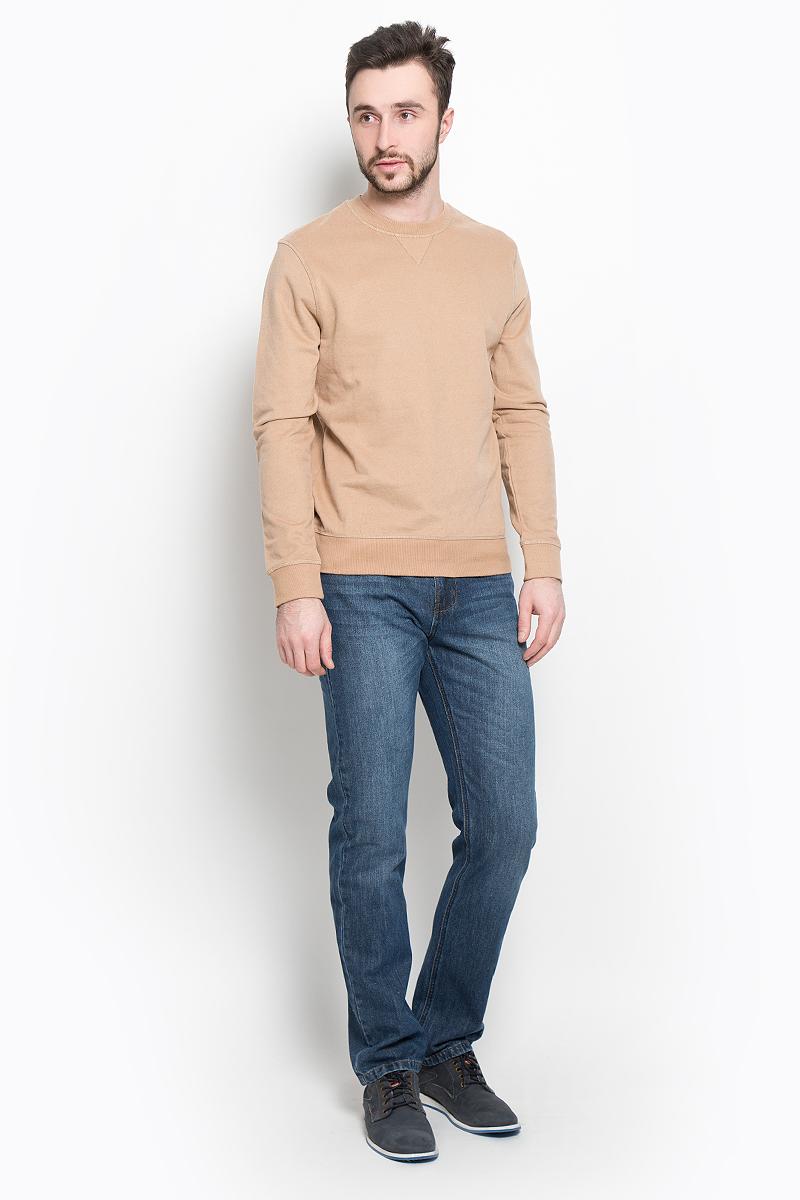 Свитшот мужской Selected Homme Indigo, цвет: темно-бежевый. 16053566. Размер XXL (52)