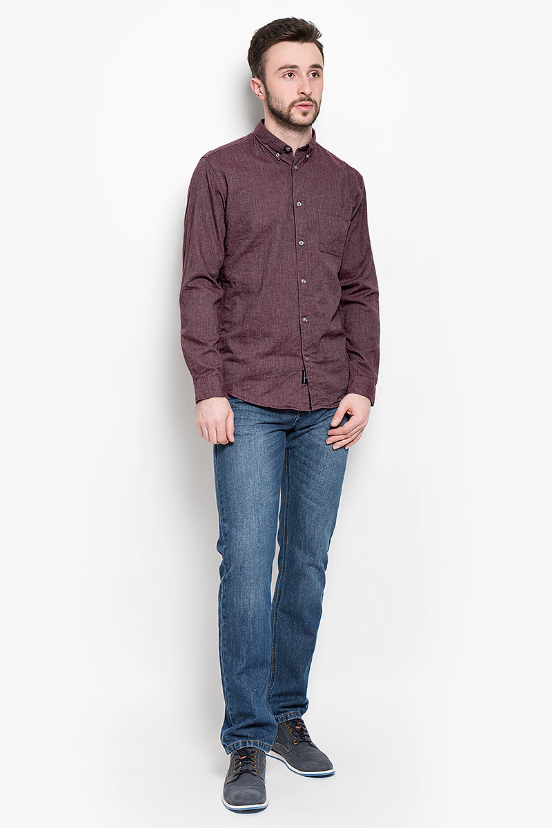 Рубашка мужская Selected Homme, цвет: бордовый. 16053320. Размер XXL (52) пуловер мужской selected homme identity цвет бордовый 16051696 размер l 48