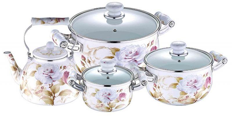 Набор посуды Wellberg, 7 предметов. 3098 WB3098 WBНабор Wellberg состоит из трех кастрюль разного объема с крышками и чайника. Кастрюли и чайник выполнены из высококачественной эмалированной стали.Кастрюли оснащены эргономичными ручками, что сделает приготовление пищи более безопасным. Крышки, выполненные из термостойкого стекла, имеют пароотводы и удобные ручки. Крышки плотно прилегают к краям кастрюль, предотвращая проливание жидкости и сохраняя аромат блюд. Набор посуды Wellberg подходит для использования на всех типах плит, включая индукционные.Объем кастрюль: 2,1 л, 3,6 л, 6,4 л. Объем чайника: 4 л. Внутренний диаметр кастрюль: 16 см, 20 см, 24 см.