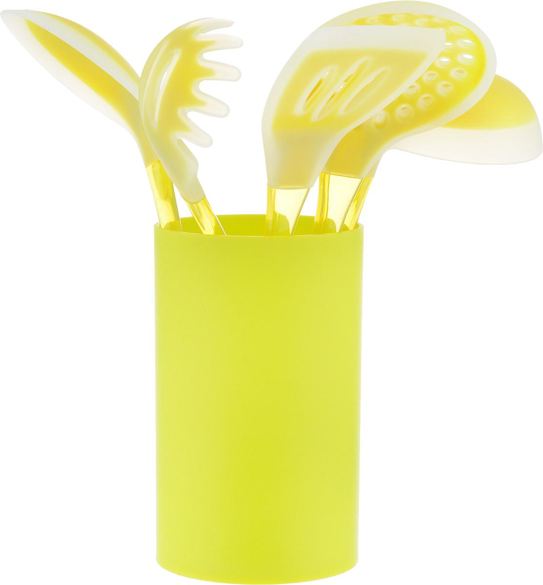 Набор кухонных принадлежностей Mayer & Boch, цвет: салатовый, желтый, 6 предметов22487_салатовыйНабор кухонных принадлежностей Mayer & Boch включает ложку для спагетти, лопатку с прорезями, ложку для помешивания, шумовку, половник и подставку. Приборы выполнены из пластика, рабочие поверхности предметов покрыты безопасным пищевым силиконом, что позволяет использовать их для посуды с антипригарным покрытием. Ручки приборов, изготовленные из полистирола, снабжены отверстиями для подвешивания. Для удобного хранения в наборе предусмотрена подставка с покрытием Soft-Touch. Этот профессиональный набор очень удобен в использовании. Наслаждайтесь приготовлением пищи с набором кухонных принадлежностей Mayer & Boch. Длина ложки для спагетти: 31 см. Диаметр рабочей поверхности ложки для спагетти: 7,5 см. Длина шумовки: 34 см. Диаметр рабочей поверхности шумовки: 10,5 см. Длина ложки: 33 см. Размер рабочей поверхности ложки: 6,5 х 11 см. Длина лопатки: 33,5 см. Размер рабочей поверхности лопатки: 8 х 10 см. Длина половника: 30,5 см. Диаметр рабочей поверхности половника: 8,5 см.