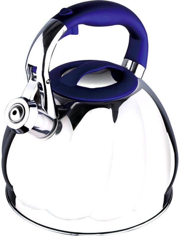 Чайник Wellberg, со свистком, 2,7 л. 6224 WB6224 WBЧайник со свистком Wellberg изготовлен из высококачественной нержавеющей стали. Носик чайника оснащен откидным свистком, звуковой сигнал которого подскажет, когда закипит вода. Свисток открывается нажатием кнопки на ручке. Эргономичная нейлоновая ручка имеет покрытие Soft-Touch. Чайник Wellberg - качественное исполнение и стильное решение для вашей кухни. Подходит для использования на газовых, стеклокерамических, электрических, галогеновых и индукционных плитах. Также изделие можно мыть в посудомоечной машине.